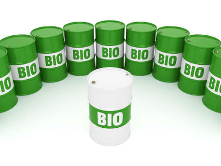 3D rendering green barrels for biofuels with lettering 스톡 콘텐츠
