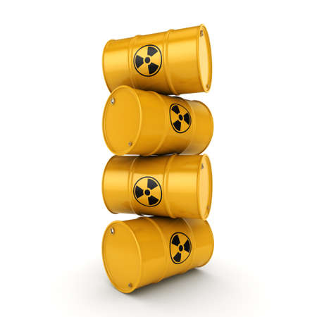 3D rendering yellow barrels with radioactive materials 스톡 콘텐츠