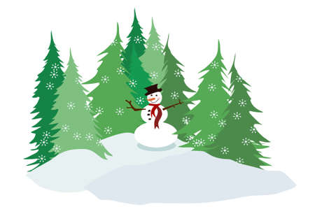 Snowman with Pine Trees Vector