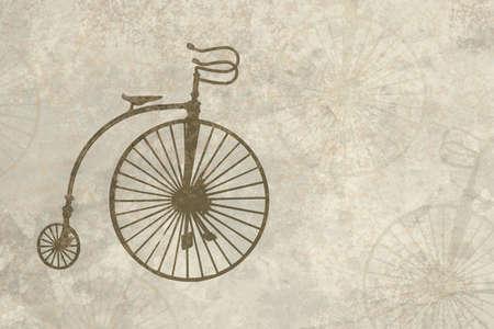 spattered: Antig�edades mirando al pergamino con antigua huella de bicicleta