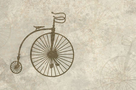 Antique looking parchment with old bicycle imprint photo