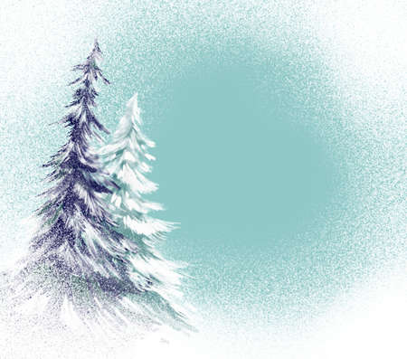 frost covered: pine trees with snow illustration Stock Photo