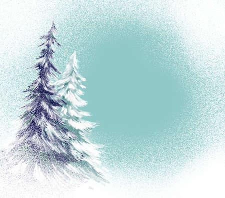 neige qui tombe: pins avec illustration de la neige Banque d'images