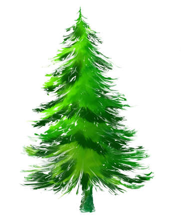 evergreen: pine tree in abstract painting Stock Photo