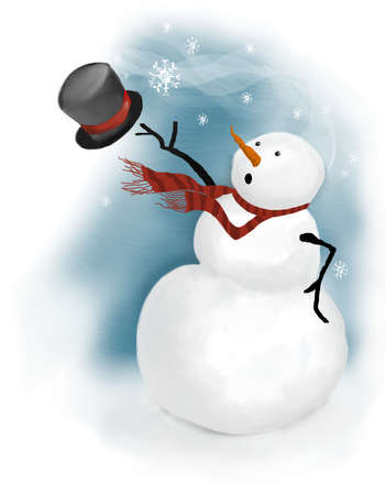 snowman: snowman surprised on windy day when his top hat blows away