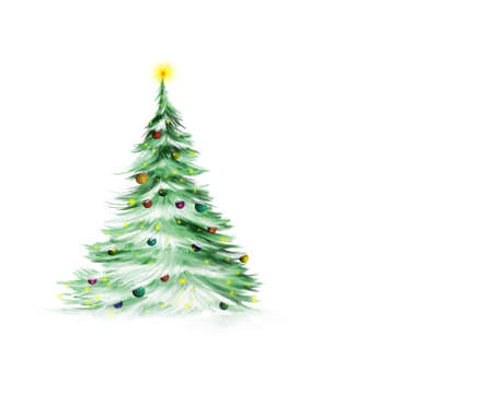 covered: Christmas tree isolated on white