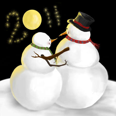 2011 New Year snowman winter scene