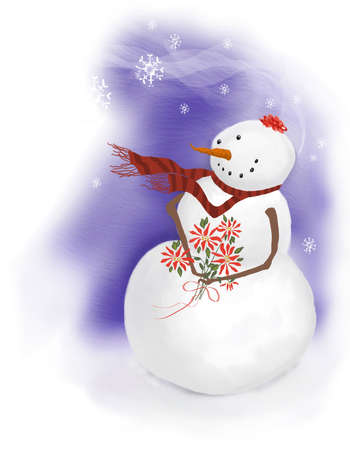 snowman girl with bow in hair and poinsettia bouquet photo