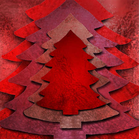 Christmas tree background  of grunge red layers Stock Photo - 8085403