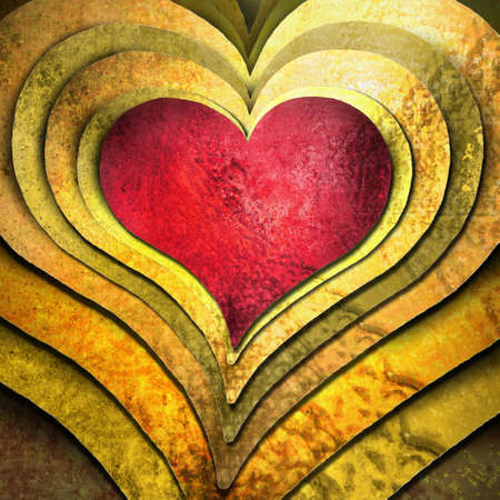 Special red heart on layers of gold hearts Stock Photo