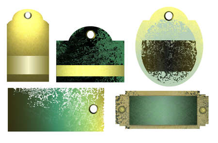 smeary: old grunge textured price tags, sales tags, and nameplate, in green, yellow, black, and teal colors