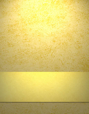 soft sunny yellow background with gold ribbon stripe, copy space, grunge texture, and highlight Stock Photo - 9025418
