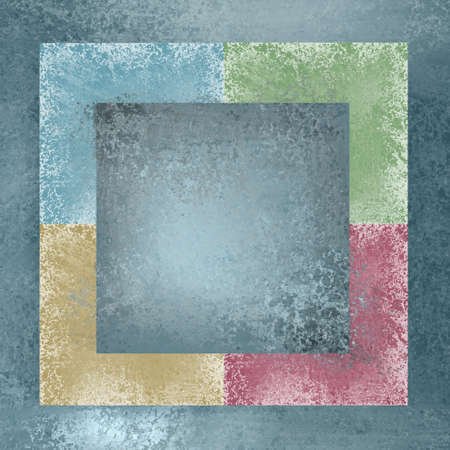 colorful faded block background with grunge worn texture, and pastel colors of blue, green, pink, and tan Banco de Imagens