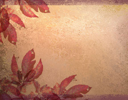 distressed vintage autumn background with red, orange, pink, and peach leaves and colors