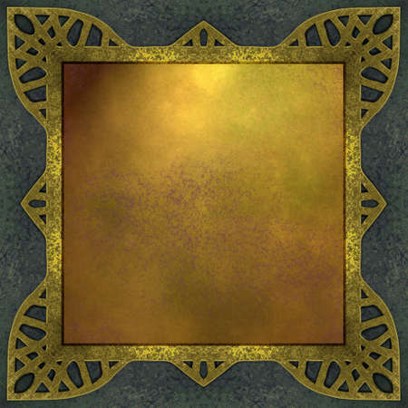 fancy border: blue and gold background with abstract frame border Stock Photo