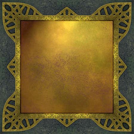 Fond bleu et or avec bordure cadre abstrait Banque d'images - 10349143