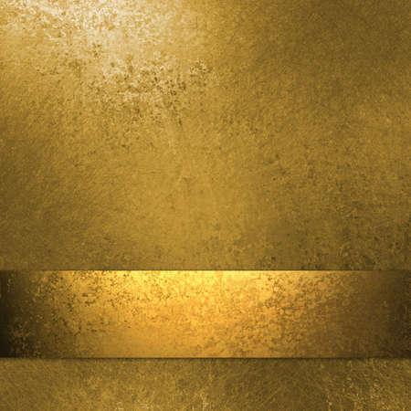 金: ゴールド リボン、グランジ テクスチャ コピー スペースとゴールドの背景にレイアウト