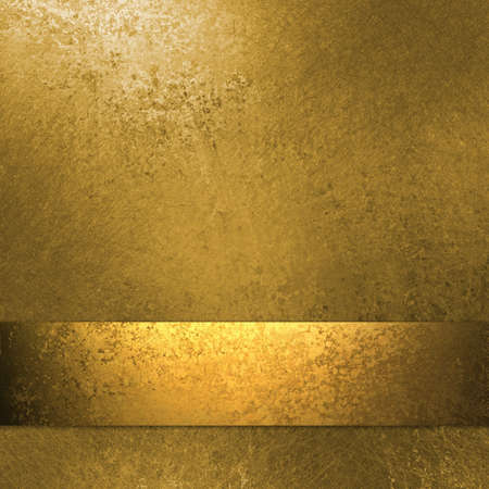 gold background layout with gold ribbon, grunge texture, and copy space photo