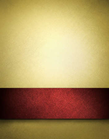 Gold background with red ribbon and copy space photo