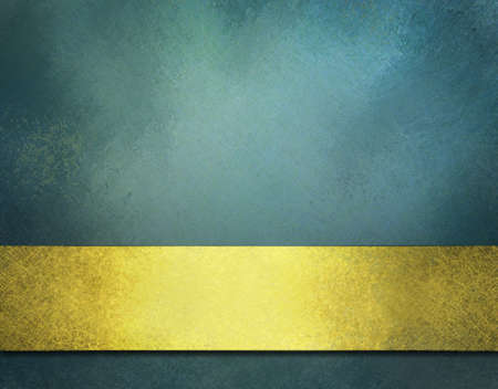 teal background: blue background with gold ribbon, vintage texture, and copy space Stock Photo