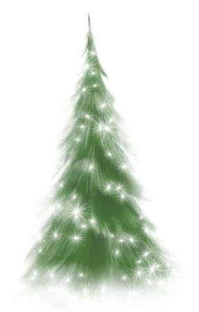 輝く松の木や常緑樹の白い背景で隔離