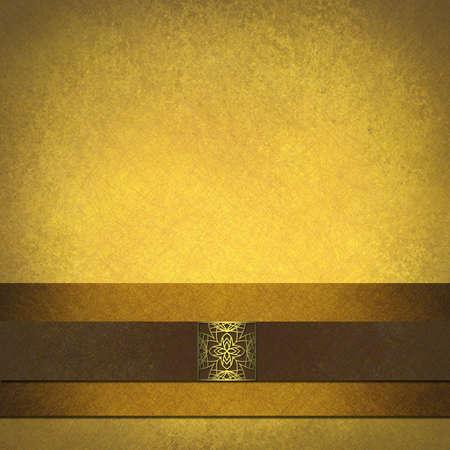 ribetes: Documento de antecedentes de pergamino de oro y marr�n con sello elegante dise�o
