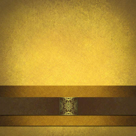 Gold and brown parchment background paper with elegant seal design photo