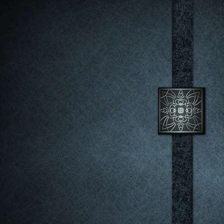 fondo elegante: Documento de antecedentes de pergamino negro y azul con sello elegante dise�o
