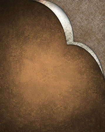 Brown background with white corner design, grunge texture and copy space photo