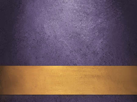 Deep Royal Purple Background With Gold Ribbon Stock Photo