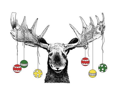 оленьи рога: Забавный рождественских Лось сцена или карты с украшениями, свисающими с Рога