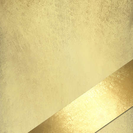 gold corner: light gold background with vintage grunge texture with gold ribbon at angle, for anniversary or Christmas Stock Photo