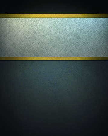 dark: dark blue background with white parchment and gold ribbon Stock Photo