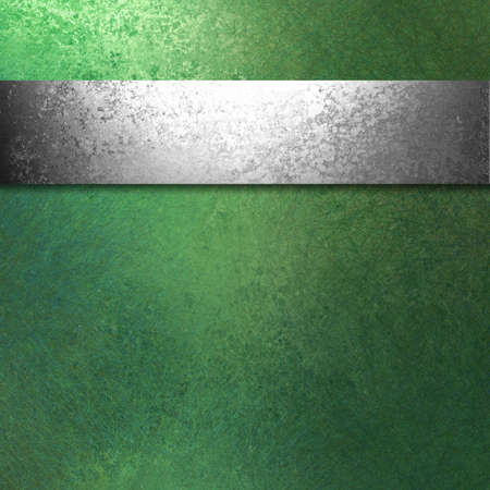Green background with silver ribbon Stock Photo - 11588816