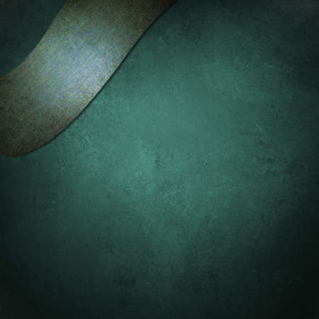 blue teal background with blank ribbon in corner Imagens