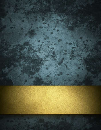 dark blue background with elegant gold ribbon stripe layout on border of frame with vintage grunge texture and old stone stains with copy space for ad or announcement