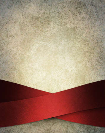 snowy frosty white background illustration with luxurious elegant red ribbon stripes  in artsy layout design on border of frame with copy space and vintage grunge texture with soft highlight