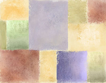 watercolour: variety of pastel vintage grunge textured backgrounds in light faded patches of quilt illustration design in pale blue, cream, red, green, gold, pimk, purple, and yellow for Easter