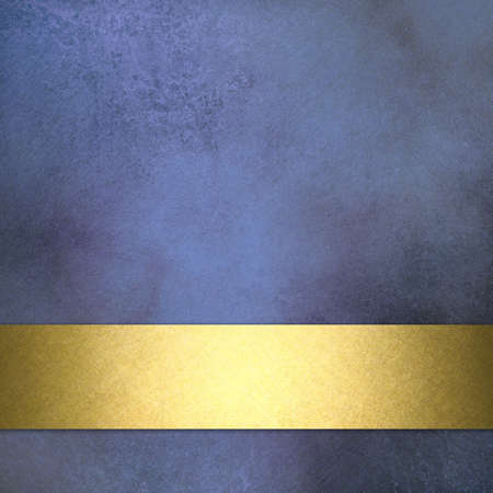 marbled blue background with elegant faded vintage grunge texture with blotchy spots and gold ribbon stripe layout design on border of frame with copy space for ad or text display