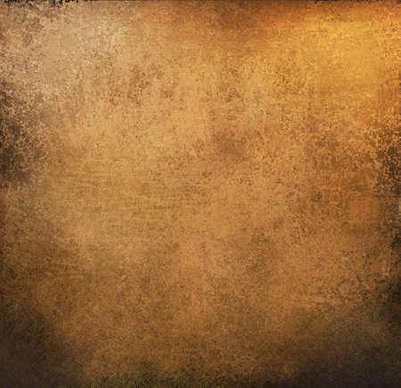 coppery: oro bello e carta sfondo marrone con graffi d'epoca grunge e aspetto con bordi neri consumate e vecchie di design antico sbiadito con copia spazio per brochure ad invito o annuncio