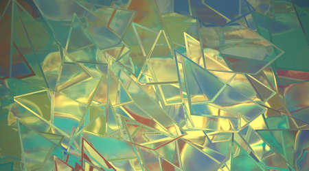 abstract background of shattered glass in blue and yellow with red accent photo