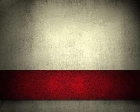 흰색 grunge 풍부한 빨간 리본 줄무늬 레이아웃 디자인과 빈티지 벽지 텍스처와 광고 또는 안내 책자에 대 한 공간을 복사