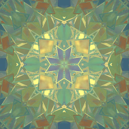 church window: bright stained glass kaleidoscope background illustration in green and blue