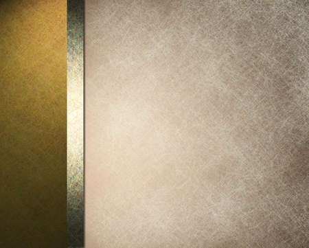 elegant formal background with light brown beige parchment paper illustration with striped side border of gold color and gold ribbon with vintage grunge texture and copy space for brochure or menu