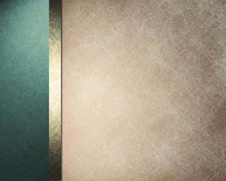 elegant formal background with light brown beige parchment paper illustration with striped side border of blue color and gold ribbon with vintage grunge texture and copy space for brochure or menu