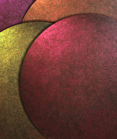 artsy: elegant abstract modern art background illustration of round circle design layout in pink and yellow with back colors of orange and purple with vintage grunge texture and dark shadows with copy space Stock Photo