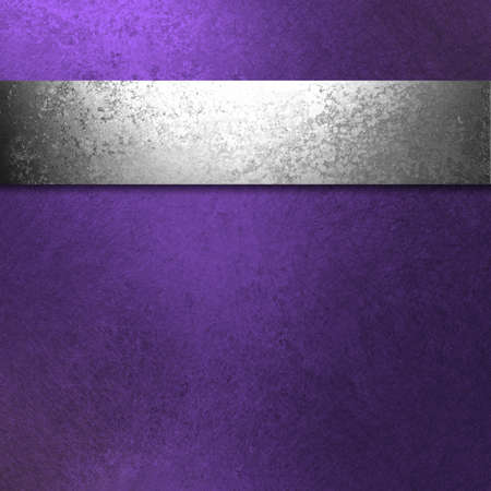 beautiful dark purple background with antique silver ribbon illustration has vintage grunge texture and blank copy space for ad or brochure or website template