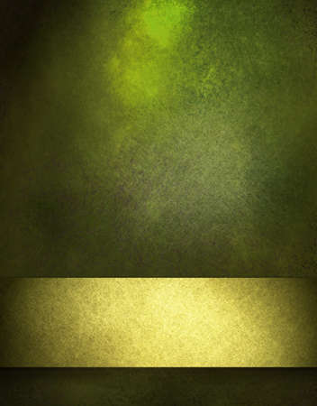 green and black: abstract sunny green mottled background with black vintage grunge texture and bright spring gold ribbon layout design with blank copy space for brochure or ad for St. Patricks Day or Christmas