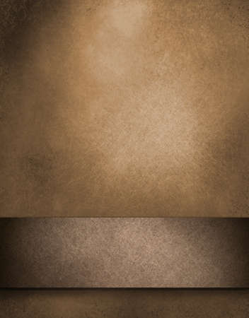 brown: warm brown background with soft spotted lighting and faded leather paper illustration with vintage grunge textured ribbon with black border on edges of frame with copy space