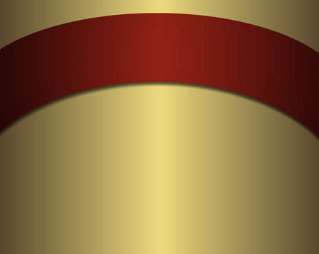 arched: metallic gold background with smooth shiny gradient and arched red ribbon banner across top with blank copy space for text or title